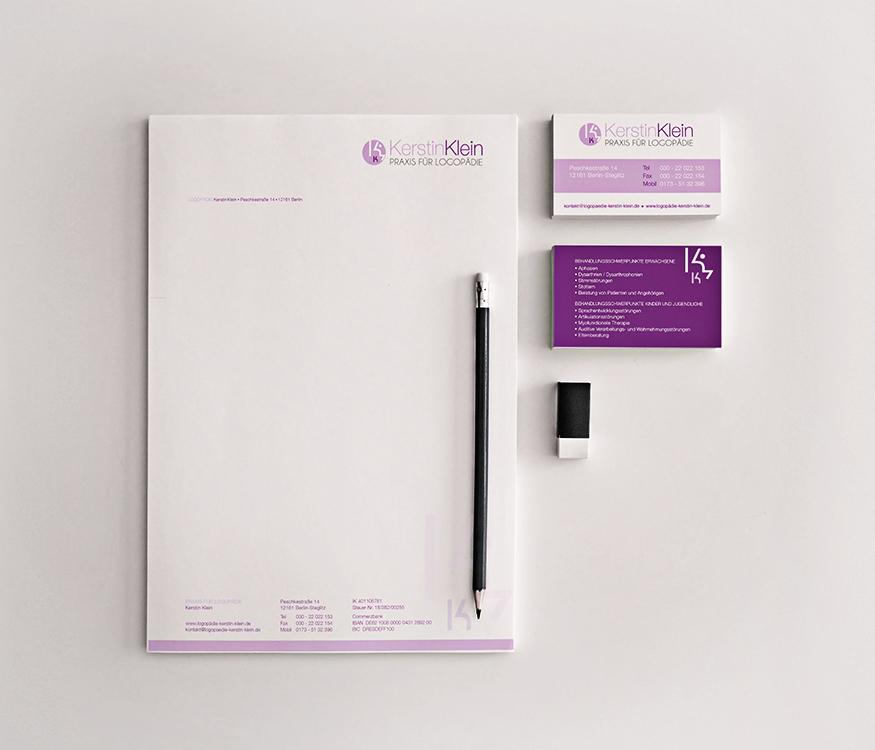 Geschäftsausstattung Design – Logopädie Kerstin Klein