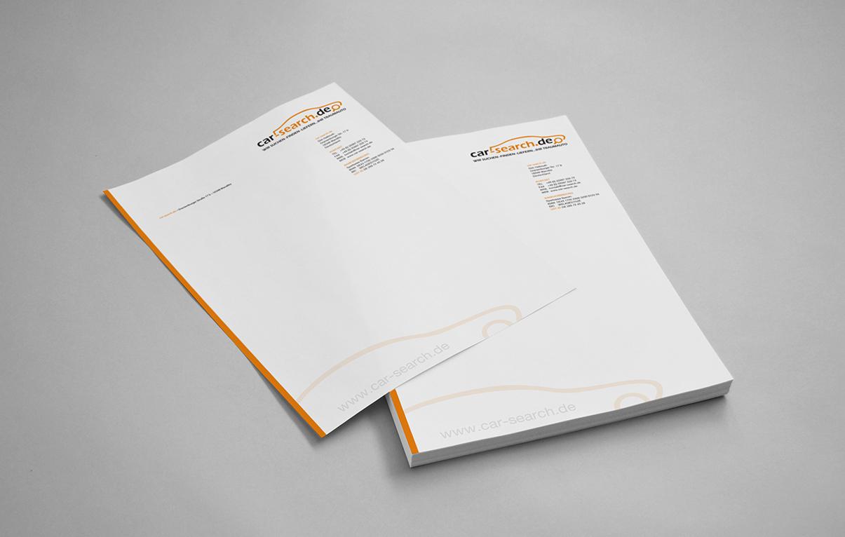 Briefpapier Gestaltung – Car Search