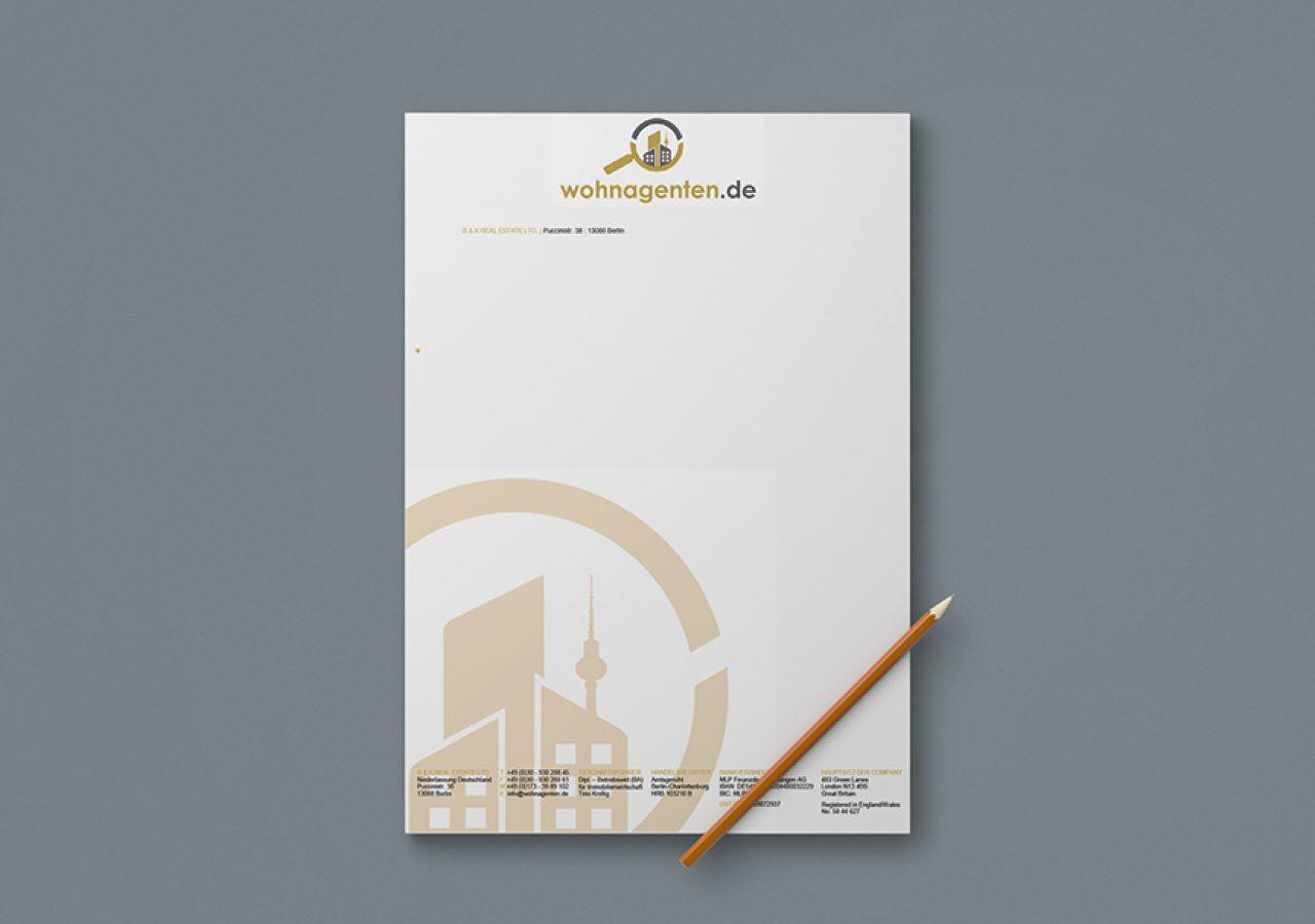Briefpapier Gestaltung für Wohnagenten Berlin
