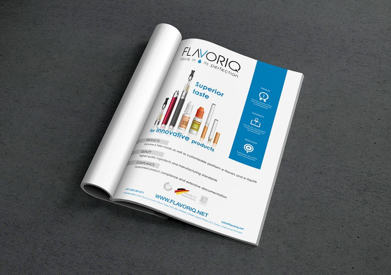 Printdesign Anzeige für Flavoriq