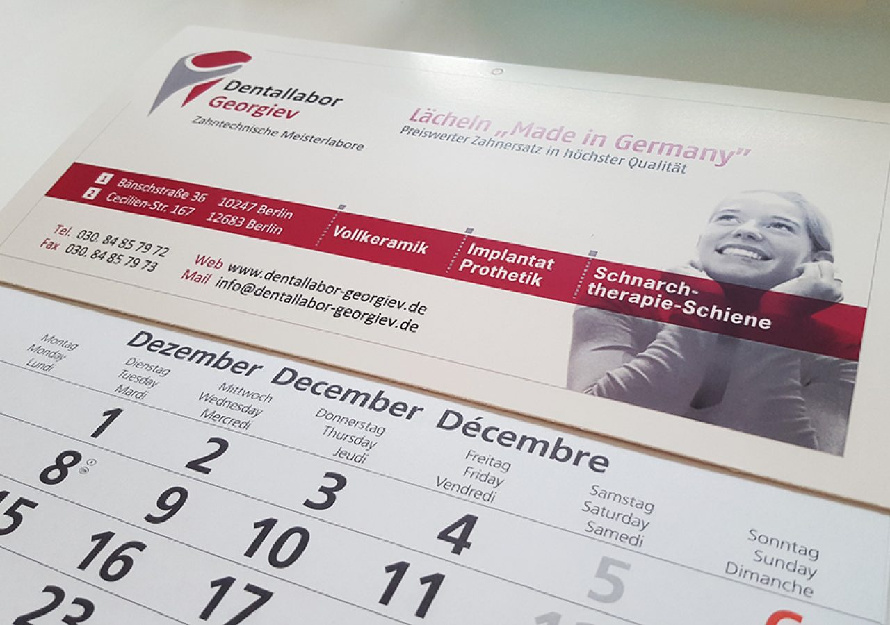 Dentallabor Wandkalender Design