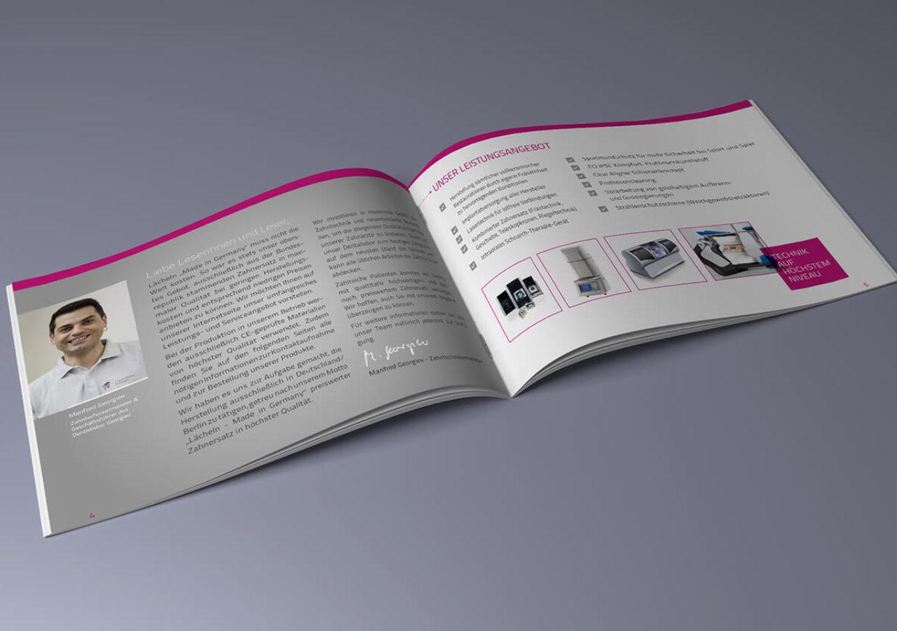 16-seitige Broschüre für Dentallabor in Berlin
