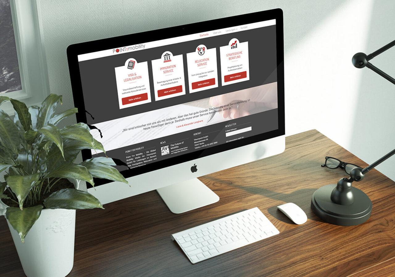 Design der Startseite, umgesetzt in Wordpress